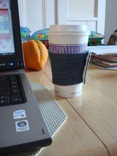 coffee cup cozy from jeans