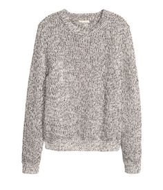 White melange. Knit sweater in a cotton blend.
