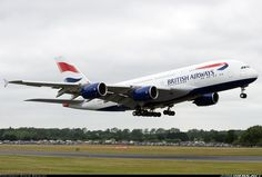 Airliners.net - BA's first A380 performs a very low pass at RIAT 2013. Steve Brimley.