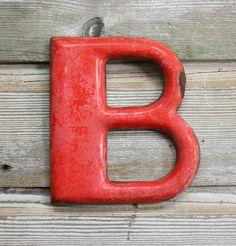 "Vintage Orange Enamel Letter ""B"" Great Deco Font by AuroraMills, $110.00"