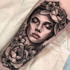 Jayce Wallingford – Tattoos World Foot Tattoos, Arm Tattoo, Body Art Tattoos, Sleeve Tattoos, Portrait Tattoo Sleeve, Tattoo Ink, Tattoo Girls, Girl Face Tattoo, Gypsy Girl Tattoos