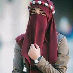 red Niqab with a flower crown