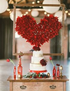 Red is the most heart-warming color, and no surprise that many couples choose it for their Valentine's Day engagements or weddings.