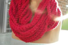 Cranberry Red Cowl Neck/ Crocheted Chain Infinity by byTAlyse, $18.00