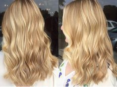 """This clients hair is definitely a lot more golden! She almost has a strawberry tint to it. We do a ton of lowlights to create different tones, of a level 7 gold, with a few highlights. I then glaze her with a level 10 """"brown"""" gold! Gold Blonde Hair, Warm Blonde Hair, Blonde Hair Shades, Honey Blonde Hair, Strawberry Blonde Hair, Blonde Pixie, Light Blonde, Strawberry Blonde Highlights, Ash Blonde"""