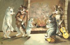 Humorous Cats Series 122 - Cats with a Guitar by a Fireplace -  Maurice Boulanger