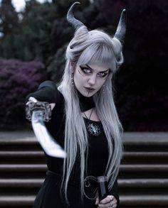 Fantasy Photography, Demon Girl, You Choose, Silver Hair, Gothic Fashion, Dark Art, Pagan, Good Times, Cosplay Characters