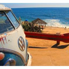 A hippie van on the beach.  That's what my corner of heaven will be like!  :)