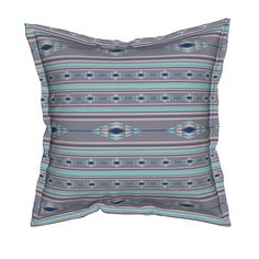 southwestern diamonds in blue Pillow by pamelachi | Roostery Home Decor