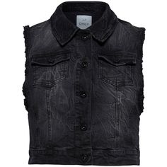 ONLY Denim Waistcoat (20 CAD) ❤ liked on Polyvore featuring outerwear, vests, jackets, tops, shirts, black, button vest, tall vest, denim waistcoat and waistcoat vest