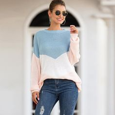 Autumn and Winter New Women's Sweater Women's Tri-color Intarsia Mixed Color Sweater Sweater Women Sweaters Pullover Cool Sweaters, Sweaters For Women, Order Checks, Winter Season, Sweater Outfits, New Woman, Color Mixing, Bell Sleeve Top, Bodycon Dress