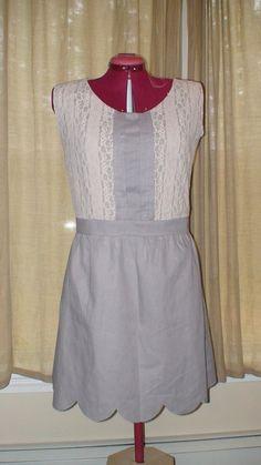 JENNY, Vintage Style Cotton Dress, Scalloped trim, Lace overlay on bodice, retro, organic, bridesmaid dress, wedding attire. $295.00, via Etsy.