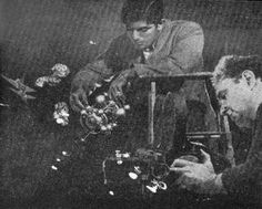 Harry Persanis and Leo Russell filming Captain Video special effects.