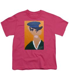 Patrick Francis Hot Pink Designer Youth T-Shirt featuring the painting Young Man With A Hat 2014 - After Vincent Van Gogh by Patrick Francis