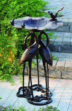 Big Bird Bath Pedestal Peaceful Harmony Lovebirds Whimsy Patio Garden Beauty NEW Metal Bird Bath, Metal Birds, Landscaping Supplies, Gardening Supplies, Bird Baths For Sale, Cutlery Art, Outdoor Living, Outdoor Decor, Outdoor Rooms