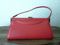 Atomic Red Handbag Mad Men purse Vintage 60s vinyl faux leather vegan handbag Spilene long purse Joan Harris Betty Draper
