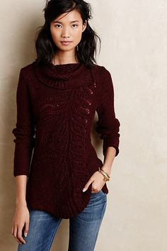 Ivory is nice, but this deep wine color...!! Gorgeous sweater. // Hadley Pointelle Tunic - anthropologie.com