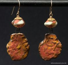 slab dangles, art artisan beads, boho assemblage,orange yellow white, clay and glass, vintage bronze caps, 14K GF wires, Woman on Fire