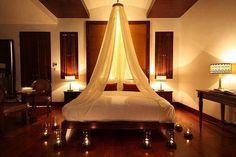Romantic candlelit bedrooms