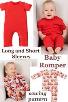 Long and Short Sleeves Baby Romper pattern. The romper pattern comes in many baby sizes from 1 to 24 months. This one of this amazing designer's most popular patterns. Boys Sewing Patterns, Baby Girl Dress Patterns, Baby Clothes Patterns, Baby Patterns, Clothing Patterns, Frock Patterns, Baby Dress, Baby Romper Pattern Free, Onesie Pattern