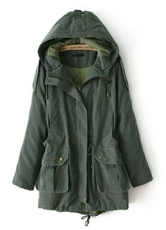 Army Green Hooded Long Sleeve Pockets Coat - Sheinside.com
