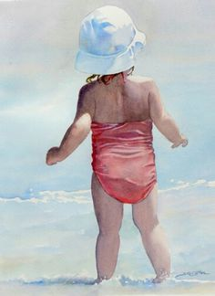 664 best beach watercolor images in 2019 Beach Watercolor, Watercolor Images, Watercolor Portraits, Watercolor Paintings, Beach Paintings, Watercolours, Painting People, Painting For Kids, Figure Painting