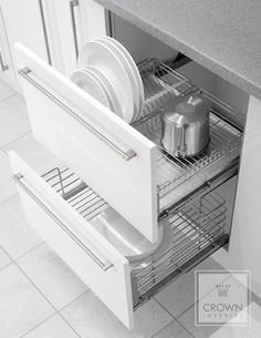 2 Drawer Pull Out Plate Holder -wire rack with basket