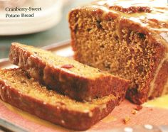 """Scrumptious and moist, this whole cranberry sauce infused sweet potato bread will be a brunch delight.  I subsituted part fresh pumpkin for some of the sweet potato, and it was fabulous.  Photo courtesy of BH & G """"Christmas Cooking from the Heart"""" (2004)."""