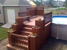 15 Above Ground Pool Ideas That are Unbelievably Outstanding. Best 10 About Above Ground Pool Ideas For Your Yard Above Ground Pool Landscaping, Above Ground Pool Decks, Backyard Pool Landscaping, In Ground Pools, Sloped Backyard, Landscaping Ideas, Patio Plan, Pool Deck Plans, Swimming Pool Decks
