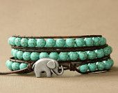 the lucky elephant Turquoise Leather Wrap Bracelet - Turquoise with GOOD LUCK ELEPHANT