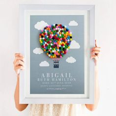 This Personalised Hot Air Balloon Pom Pom Nursery Print is totally unique. Created using multi coloured pom poms, this print will brighten any nursery or play room. Diy Hot Air Balloons, Nursery Crafts, Balloon Wall, Nursery Hot Air Balloon, Pom Pom Crafts, Printed Balloons, Crafts To Make And Sell, Kindergarten, Christmas Crafts For Kids