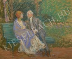 Courtship on the Bench - Lajos Kunffy