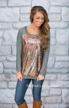 We Found Love Sequin Sweater - The Pink Lily Boutique