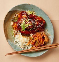 The umami main: Yotam Ottolenghi's roast chicken with sweet miso glaze, sticky rice and kimchi.