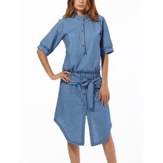 LAKLOOK Blue Mandarin-Collar Split-Hem Shirt Dress ($25) ❤ liked on Polyvore featuring dresses