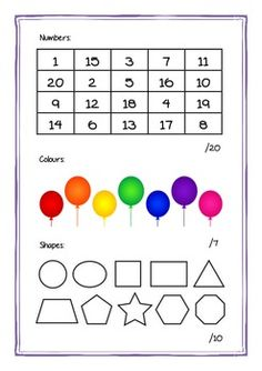 Preschool assessment:  numbers, colors, shapes, uppercase letters, lowercase letters