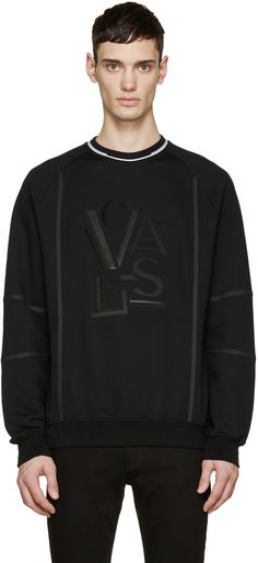 ae3bc3d7c52 VERSACE Black Leather Logo Pullover.  versace  cloth  pullover Versace T  Shirt Men