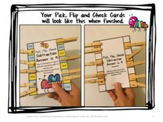 FREEBIE Addition and Subtraction Pick, Flip and Check Cards by Games 4 Learning - The fun way to review addition and subtraction facts!