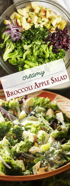 Creamy Broccoli Apple Salad with Pistachios, Cranberries, and Red Onion - Just a Little Bit of Bacon Salads For A Crowd, Salad Recipes For Dinner, Supper Recipes, Easy Salads, Healthy Side Dishes, Heart Healthy Recipes, Healthy Salad Recipes, Vegetarian Recipes, Pear Salad