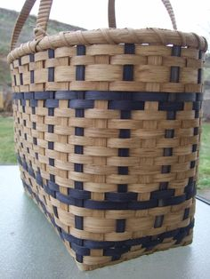 """22""""long, 8""""wide, 20""""tall.  Lg. Shopper's Tote Handwoven basket with navy by BasketsByEmily"""