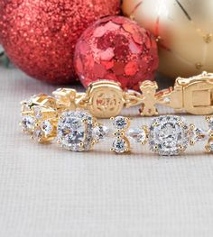 You'll be ready to shine bright at every holiday party with this shimmering bracelet! With over 28 carats, it's more than enough sparkle to carry you all the way through New Years! We think it pairs beautifully with a rich red! [Promotional Pin]