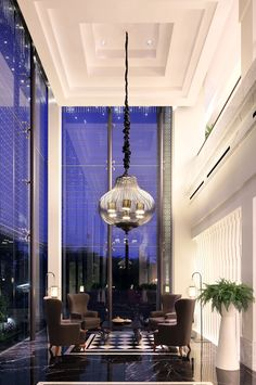 AB+Concept_Four+Seasons+Pudong_Shangxi_Entrance - Hotels Design Architecture Lobby Interior, Interior Exterior, Interior Architecture, Interior Simple, Modern Interior Design, Luxury Interior, Commercial Design, Commercial Interiors, Lobby Design