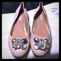 Nude gem BCBG flats Never worn. BCBG MaxAzaria flats. Corgi not included. Stunning gemstones! BCBGMaxAzria Shoes Flats & Loafers