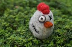Zombie Chicken - Needle Felted Wool Sculpture - MADE TO ORDER