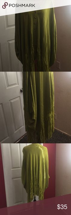 Fringe olive green poncho NEW Poncho is approximately 42' long at the longest well made 70% silk 30% rayon from Patty LA Belle OSFM Tops