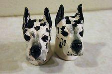 Vintage CERAMIC SALT & PEPPER DOG HEAD SHAKERS White & Black