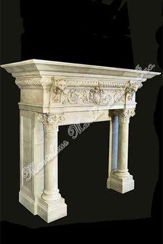 Antique hand carved italian limestone fireplace mantel