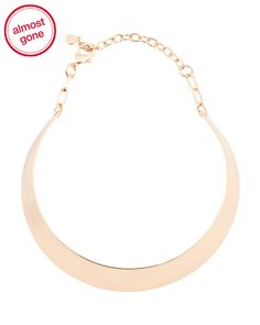 Wide Band Choker Necklace In Gold Tone