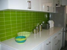 modwalls Lush 3x6 Lemongrass green glass subway tile