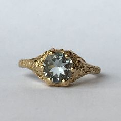 Vintage Aquamarine Ring with 14k Yellow Gold Filigree Setting. 1+ Carat. Unique Engagement Ring. March Birthstone. 19th Anniversary Gift.